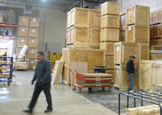 warehouse with crates